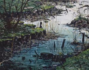 Biesbosch 1, 80  x 100  cm, 2014, spuitbus, olie- en lakverf op doek, Courtesy Livingstone gallery
